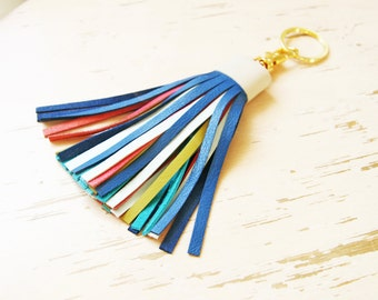 Multicolor Leather Tassel with Lobster Clasp and Split ring Bag Charm