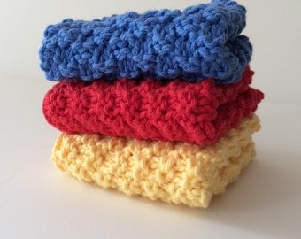 Red, Blue, and Yellow Dishcloths - Set of Three
