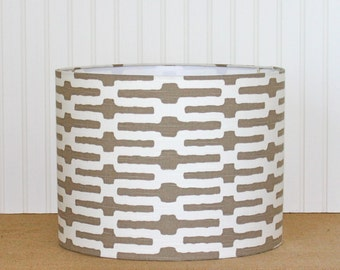 Drum Lamp Shade Lampshade Pendant Geometric Modern Taupe Annie Selke Made to Order