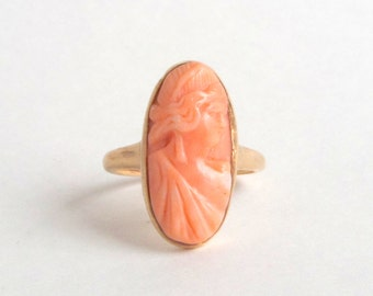 Antique Cameo Ring. Tall Salmon Coral. 10K Gold.