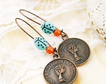 Coin dangle earrings - alloy charm, jade, and glass bead