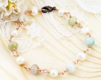 Ocean breeze bracelet - freshwater pearl, amazonite
