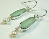 Elegant aquamarine seaglass earrings
