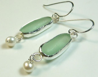 Elegant aquamarine seaglass earrings