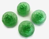 Dahlia Vintage Glass Buttons - 2 Large Flower Buttons in Translucent Green