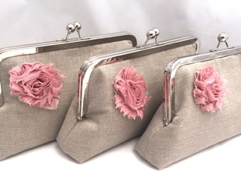 Set of (3) Neutral Linen Clutch with rosette Design your own custom bridesmaids gift