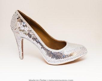 Sequin Sterling Silver Rocha Stiletto High Heel Dress Shoes
