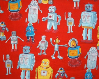 Ready Set Robot - Alexander Henry Fabrics 2003 collection- Fat Quarter -Red Background- RARE