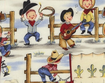 Lil' Cowpokes  Cotton Fabric by Michael Miller- Cowboys, Rope, Covered Wagons- ADORABLE!