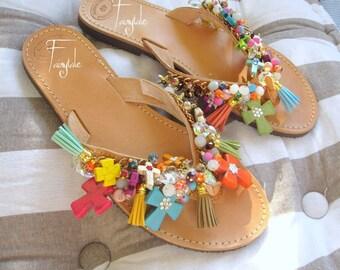 "Greek Leather Sandals with Howlite Crosses/FREE SHIPPING/ handmade greek leather sandals/flip flops/slide in sandals/ancient greek ""HYPATIA"""