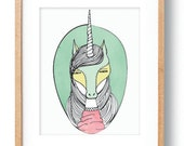 Unicorn Print Giclee Print Unicorn Art Girls Bedroom Pink Yellow Portrait Giclee Wall Art Decor Whimsical Mythical Creature Girls Room Print