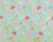 2553F - Lovely Colorful Small Umbrella Fabric in Green , Star, Heart, Flower , Dot Fabric