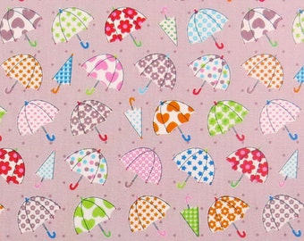 2553C - Lovely Colorful Small Umbrella Fabric in Light Puce , Star, Heart, Flower , Dot Fabric