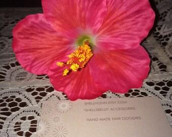 Single  pink hibiscus pinup hair flower