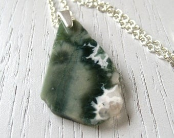 SALE - Natural White and Green Ocean Jasper Slab Pendant Necklace