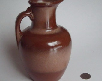 Frankoma Pottery Pitcher Jug with Cork, approx. 7.25 x 4.5 in., Brown and Taupe, Marked Frankoma, Excellent Condition
