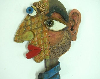 Abstract Ceramic Wall Mask-Picasso Inspired