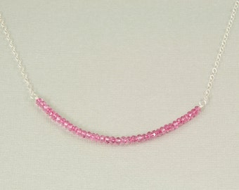 Pink quartz necklace, pink bar necklace, sterling silver pink necklace, gift for her, pink jewelry