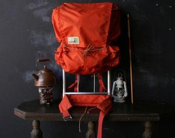 Vintage Large Backpack on Aluminum Frame Camping Orange Nylon Canyon Brand From Nowvintage on Etsy