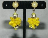 Vintage Vendome Clip Earrings Yellows Glass Rhinestones