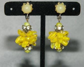Vintage Vendome Clip Earrings Yellows Glass Rhinestones
