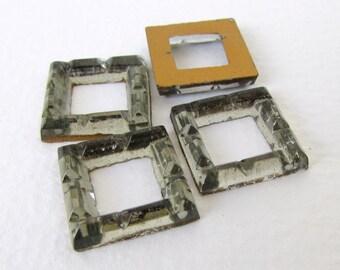 Vintage Glass Cabochon Black Diamond Grey Rhinestone Square Frame 17mm gcb1123 (4)