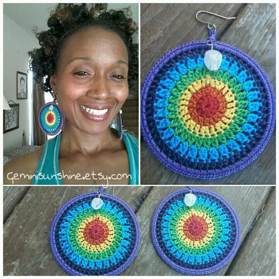 Rainbow Chakra Crochet Earrings