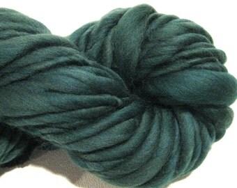 Handspun Yarn Solid Pine 40 yds  thick and thin bulky yarn green yarn crochet supplies  merino wool waldorf doll hair knitting supplies