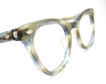 Vintage Art Craft Blue Marbled Horn Rim Cat Eye Eyeglasses Frame