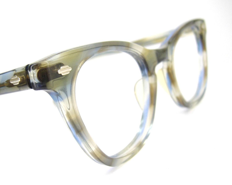 Vintage art craft blue marbled horn rim cat eye eyeglasses for Art craft eyeglasses vintage