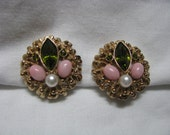 FASHION SPLENDOR gold, pink, olive green vintage clip on clip back earrings Sarah Coventry