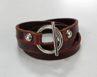 Leather Bracelet Leather Cuff  Wrap Bracelet with Toggle Clasp in brown