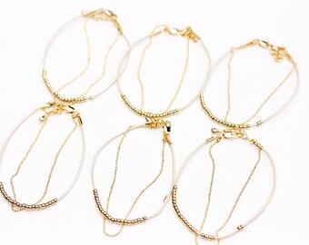 Beaded Bracelet Set, Set of 10 Bracelets, Bridesmaid Bracelet Set, Beaded Bracelet, Gold Bracelet Set, Leather Cord Bracelet, Small Bracelet
