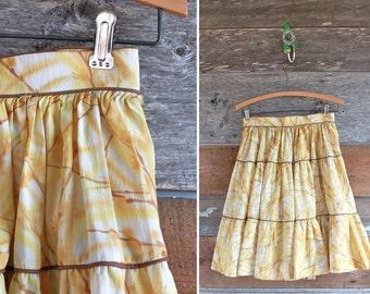 """1960s skirt / yellow ruffled skirt  / 60s tiered circle skirt / waist 26"""""""