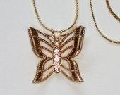 Butterfly Filigree Pendant Necklace Rhinestones Vintage