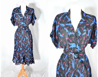 80s Vintage Wrap Bodice V Neck Dress - Accordion Fitted Skirt - 40s Inspired - medium to large