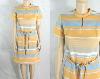 Vintage 60s Shift Dress Scooter Stripes Braided Belt - small to medium