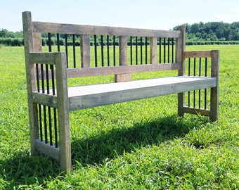 Reclamed Wood Bench For Indoor Or Outdoors   Garden Bench   Rustic  Industrial Furniture