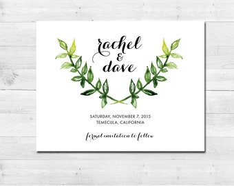 Beautiful Rustic Floral Watercolor Printable SAVE THE DATE Calligraphy themed card - wedding - Download