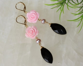 Pink Roses Black Marquise Gold Bridal Earrings, Summer Fashion, For Mother of the Bride, Wedding Party, Quinceanera, For Wife, For Sister