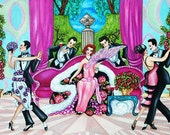 Giclee  Fine Art Print Men Women Dancing Pink Sofa Art Deco Flowers from Original Painting Ladies Choice by k Madison Mmoore