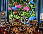 Jungle Art Print, Tiger Laying on Sofa, Jungle Scene, Jungle Animals, Flowers in Jungle, Animal Prints, k Madison Moore