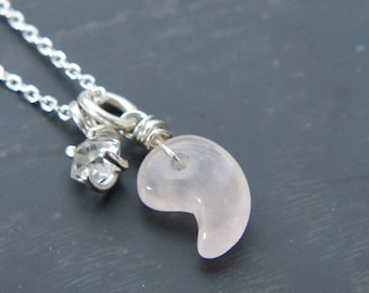 Magatama Rose Quartz with Herkimer Necklace, Japanese Jewelry, Light Pink Gemstone, Sterling Silver