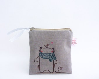 Illustrated Coin Purse, Coin Purse, Cat Coin Purse, Zipper Pouch, Zipper Purse, Cat Purse, Change Purse, Small Pouch, Grey - Cat