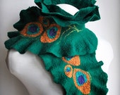 70% OFF Peacock Scarf Long Wool Feather Green /Peacock Pride/ Designer, Silk, Feathers, Saint Patrick's Day, Romantic Colection 2015