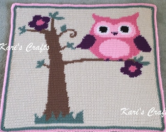 Crocheted Pink Owl In A Tree Baby Graphghan Blanket