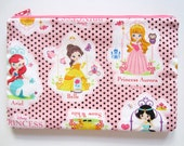 Pencil/Cosmetics Case - Disney Princess Cinderella, Ariel,  Princess Aurora, Belle, Snow White, Jasmine Applique on Pink cotton