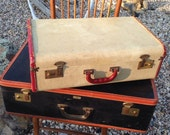 Vintage Tan with sewn-on Brown Trim Travel Suitcase Luggage