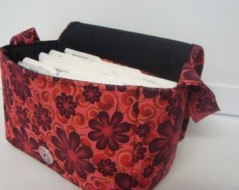 10% OFF Super Size Coupon Organizer Bag / Budget Organizer Holder Box - Attaches to Your Shopping Cart -  Red Holyhock Floral