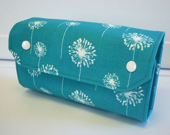 Cash Envelope Wallet  / Dave Ramsey System / Zipper Envelopes - Turquoise Dandelion
